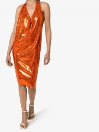 Bottega Veneta Cowl Neck Mirror Gathered Midi Dress ~ shiny orange cocktail dresses