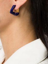 BOTTEGA VENETA twisted triangle hoop earrings | blue lapis lazuli hoops