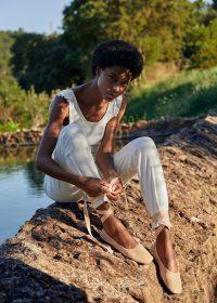 MANGO Bow leather ballerina Nude