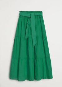 MANGO SOLI Bow midi skirt green | tiered summer skirts
