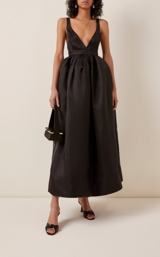 Brock Collection Bow-Embellished Silk-Taffeta Maxi Dress ~ plunge front event wear