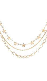 BRACHA Cosmos Star Layered Necklace – gold plated triple chain necklaces