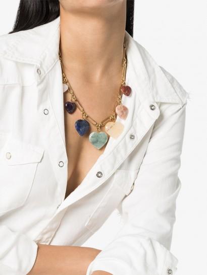 BRINKER & ELIZA Carpe Diem gold-plated charm necklace   stone hearts