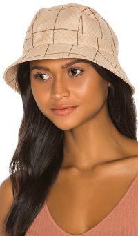 Brixton Bromley Bucket Hat Tan Plaid / checked hats