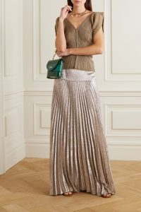 CHLOÉ Metallic plissé silk-blend maxi skirt | luxe pleated skirts