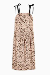 TOPSHOP Brown Animal Drop Waist Midi Dress