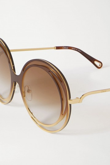 CHLOÉ Carlina oversized round-frame acetate and gold-tone sunglasses | brown ombré lenses
