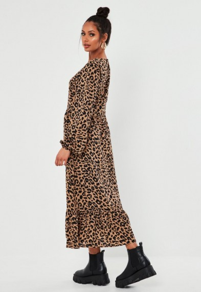 MISSGUIDED brown leopard print ruffle hem midi smock dress