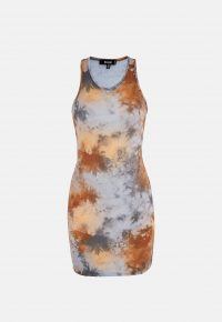 MISSGUIDED brown tie dye racer mini dress – sleeveless bodycon