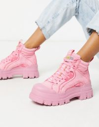 Buffalo Aspha flat ankle boots in pink washed denim