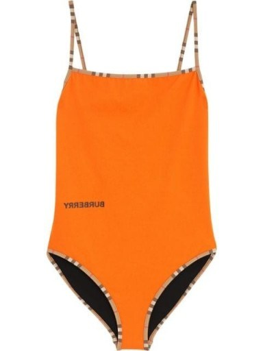 BURBERRY Icon Stripe trim swimsuit ~ orange designer swimwear - flipped