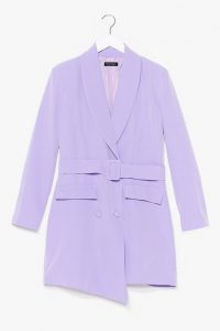 NASTY GAL Button and Belted Blazer Dress Lilac – asymmetrical jacket dresses