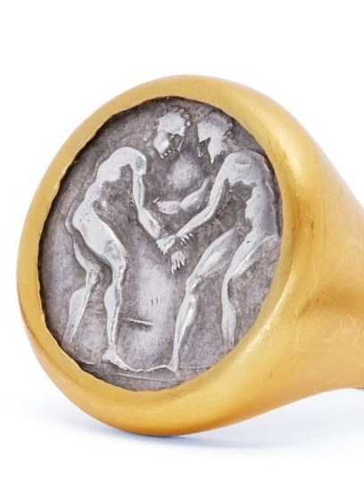 ELI HALILI Byzantine-coin 24kt gold & silver signet ring / chunky coin featured rings - flipped