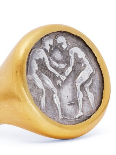 ELI HALILI Byzantine-coin 24kt gold & silver signet ring / chunky coin featured rings