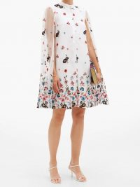 ERDEM Caelyn cape-back floral-embroidered organza dress – feminine event wear