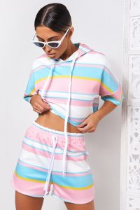 THE FASHION BIBLE CANDY STRIPE PINK HOODIE CROP TOP & SHORTS CO-ORD – summer co-ords