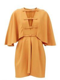 GIAMBATTISTA VALLI Cape-sleeved cutout crepe dress ~ orange dresses