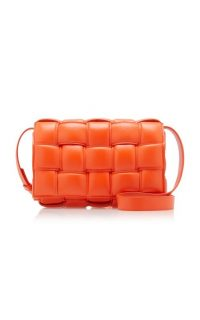 Bottega Veneta Cassette Padded Intrecciato Leather Shoulder Bag in Orange