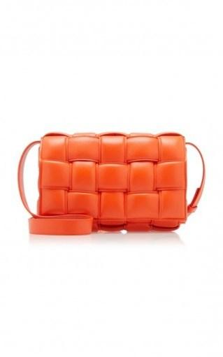 Bottega Veneta Cassette Padded Intrecciato Leather Shoulder Bag in Orange - flipped