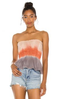 Chaser Heirloom Gauze Smocked Ruffle Tube Top Horizon Dye / summer bandeau tops