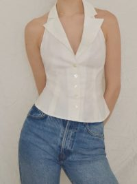 Reformation Chianti Top | white halter tops