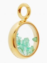 AURÉLIE BIDERMANN FINE JEWELLERY Chivor mini 18kt gold & emerald pendant ~ luxury pendants ~ green gemstones
