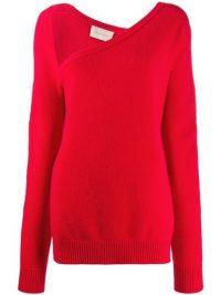 Christopher Kane Red asymmetric neckline jumper