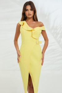 LAVISH ALICE circle buckle ruffle wrap dress in yellow