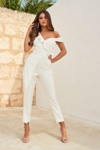 LAVISH ALICE circle buckle ruffle wrap over jumpsuit in white – luxe look jumpsuits