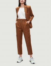 CLAUDIE PIERLOT Panoramice mid-rise woven trousers tobacco