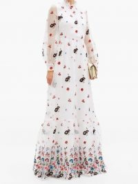 ERDEM Clementine floral-embroidered organza gown – romantic high neck, sheer sleeved event gowns