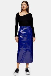 Topshop Boutique Cobalt Blue Vinyl Leather Skirt / shiny skirts
