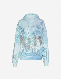 COLLINA STRADA Rhinestone-appliqué floral-print cotton-blend hoody in blue | casual luxe