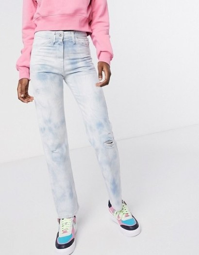 COLLUSION x000 Unisex 90's fit straight leg jeans in washed tie dye - flipped