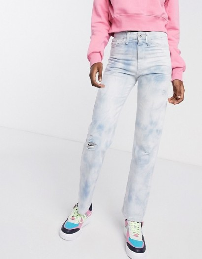 COLLUSION x000 Unisex 90's fit straight leg jeans in washed tie dye