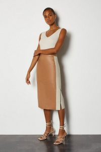 KAREN MILLEN Colourblock Leather Pencil Skirt ~ tan skirts