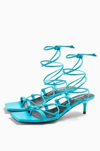 TOPSHOP CONSIDERED VIOLA Vegan Blue Heel Sandals / bright strappy kitten heels