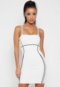 Manière De Voir CONTRAST BODYCON MINI DRESS WHITE