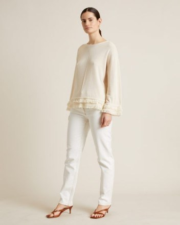 Jigsaw COTTON CREPE FRINGED JUMPER CHALK | neutral knits - flipped