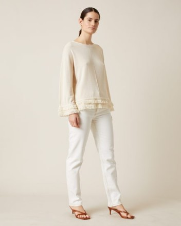 Jigsaw COTTON CREPE FRINGED JUMPER CHALK | neutral knits