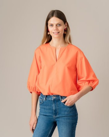 Jigsaw COTTON POPLIN SLEEVE DETAIL TOP POLLEN ORANGE | bright summer tops