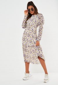 Missguided cream puff sleeve midi smock dress
