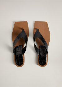 MANGO DARYL Croc-effect sandals | squared off toe