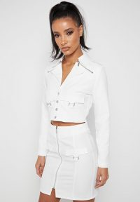 Manière De Voir CROPPED TAILORED JACKET OFF-WHITE