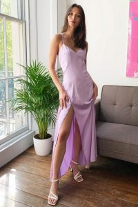 Nasty Gal Cross It off the List Satin Maxi Dress Lilac