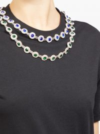 CHRISTOPHER KANE Crystal-embellished cotton-jersey T-shirt ~ necklace tee ~ detailed neckline T-shirts