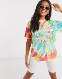 Daisy Street oversized t-shirt in tie dye with daisy swirl / multicoloured tee