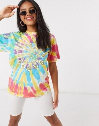 Daisy Street oversized t-shirt in tie dye with daisy swirl / multicoloured tee - flipped