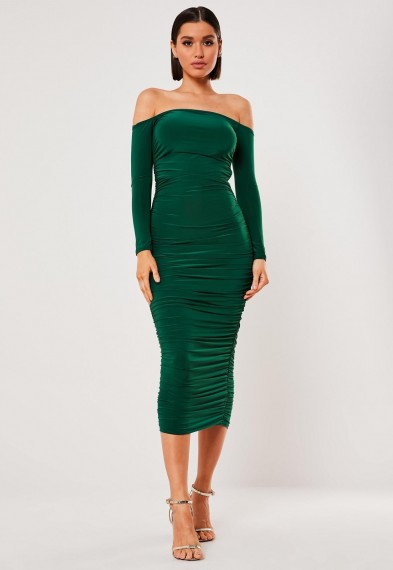 MISSGUIDED dark green bardot slinky ruched bodycon midaxi dress – fitted off the shoulder dresses