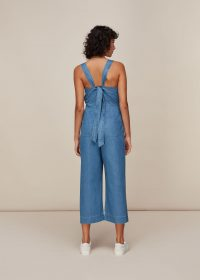 WHISTLES LANGLEY DENIM JUMPSUIT ~ back tie detail jumpsuits